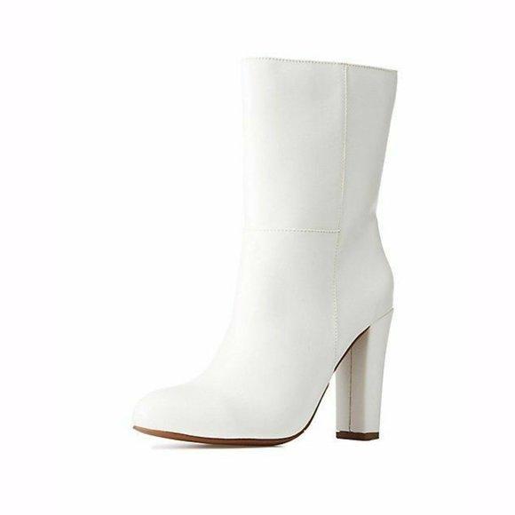 Mid Calf Almond Toe White Boots